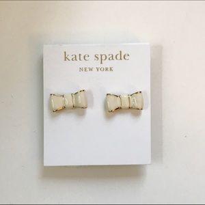 Kate Spade Cream & Gold Bow Earrings